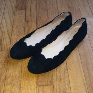 FS/NY suede black scalloped Mary Jane flats 10